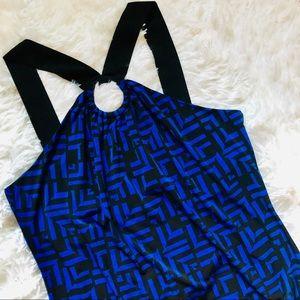 INC • Geometric Blue + Black Banded Muscle Tank.